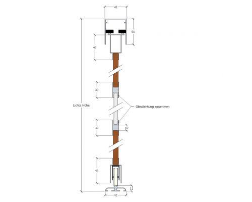1-spurige Decken-/Bodenschiene