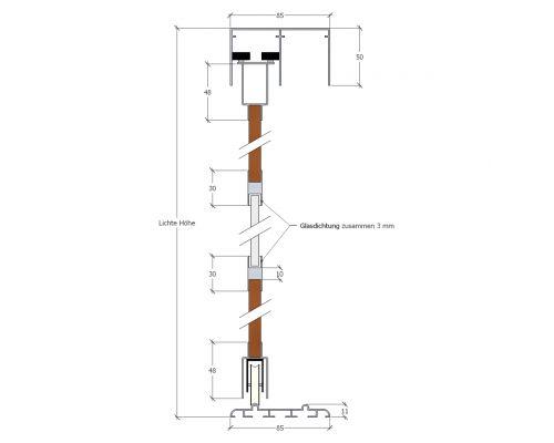 2-spurige Decken-/Bodenschiene