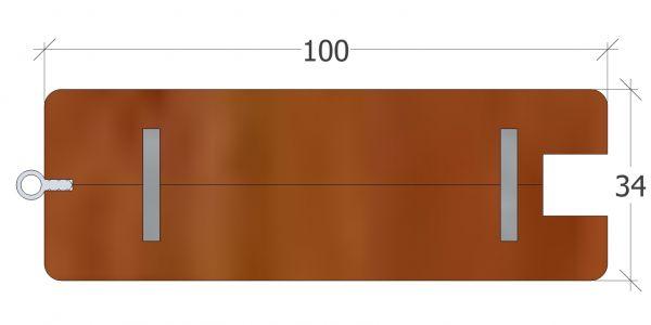 100er Rahmenprofil gerade, zur Aufnahme eines Standardgriffes