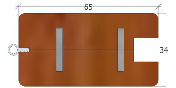 65er Rahmenprofil gerade, zur Aufnahme eines Standardgriffes